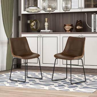 17 Stories Dumisani Leather Side Chair Wayfair