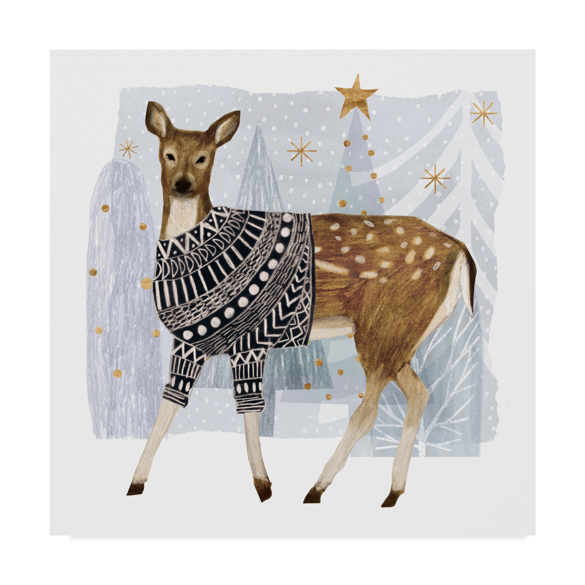 The Holiday Aisle Cozy Woodland Animal Iii Graphic Art On Wrapped Canvas Wayfair