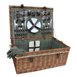4 Person Deluxe Rope Handled Tweed Picnic Basket By Union Rustic