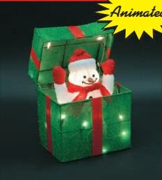 animated snowman gift box christmas decoration - Motorized Christmas Decorations