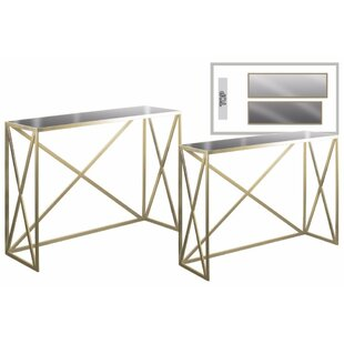 Charis Rectangular 2 Piece Console Table Set With Mirror Top By ...