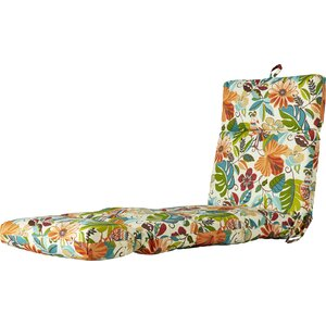Outdoor Floral And Bird Chaise Lounge Cushion