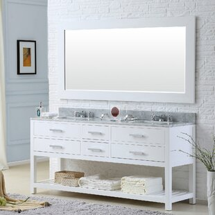 Berghoff 72 W Double Sink Bathroom Vanity Set with Rectangular Mirror by Andover Mills