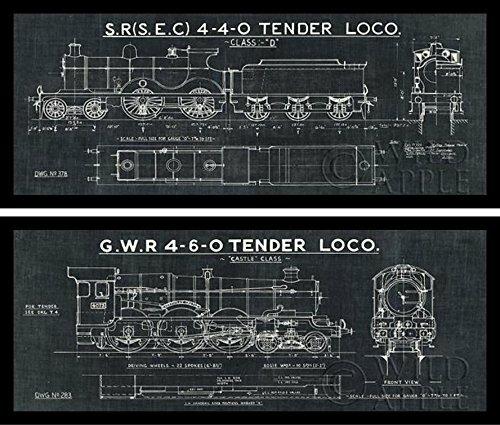 Williston Forge Train Blueprint Ii 2 Piece Framed Graphic Art Print Set Reviews Wayfair