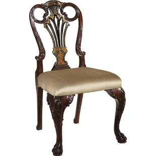 Carved Chinoiserie Upholstered Dining Cha..