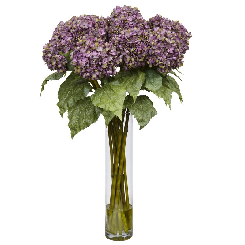 Nearly natural hydrangea silk flower arrangement in purple reviews hydrangea silk flower arrangement in purple mightylinksfo