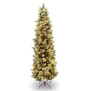 slim 75 green pine artificial christmas tree with 600 clear lights - Skinny Christmas Trees