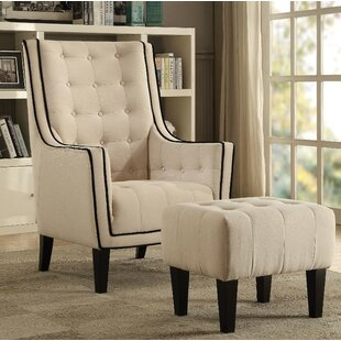 Chandler Wooden Armchair and Ottoman (Set of 2) by Longshore Tides
