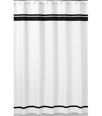Sweet Jojo Designs Hotel Cotton Single Shower Curtain Color: White / Black