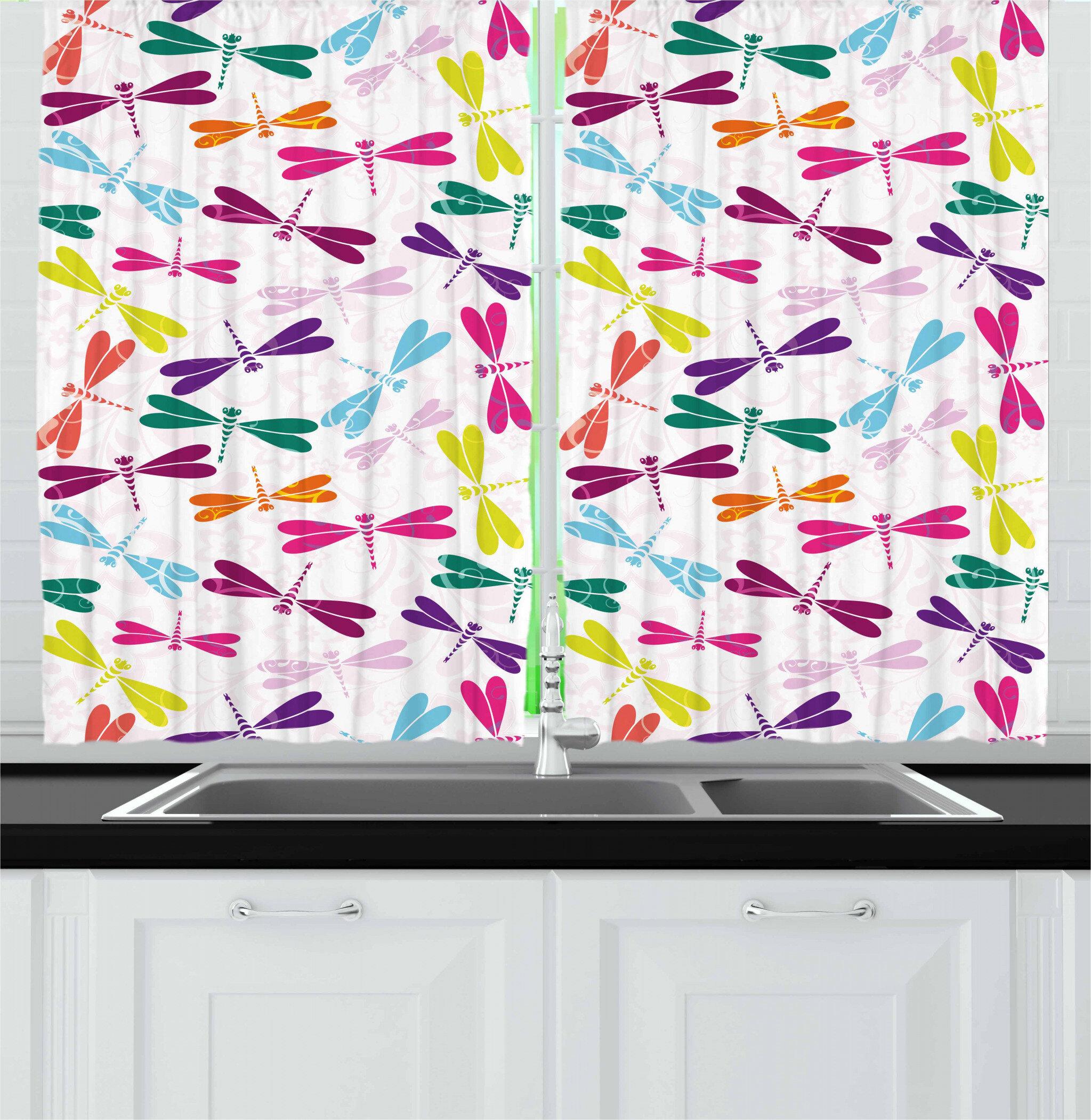 East Urban Home Dragonfly Kitchen Curtain Wayfair