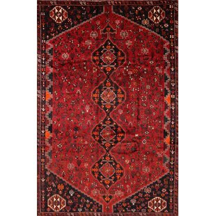 Deals One-of-a-Kind Maddy Lori Shiraz Traditional Persian Hand-Knotted 6'1 x 9'2 Wool Burgundy/Black Area Rug By Isabelline