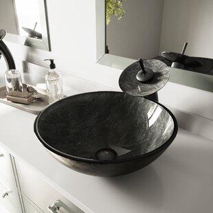 Tempered Glass Circular Vessel Bathroom Sink by VIGO