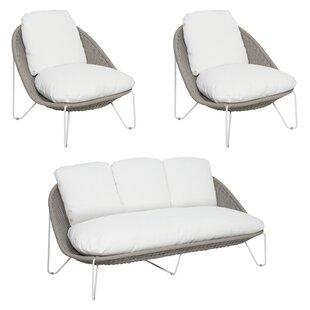 Archipelago Aegean 3 Piece Rattan Sofa Seating Group with Cushions