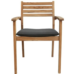 Sylvan Stacking Teak Patio Dining Chair with Cushion