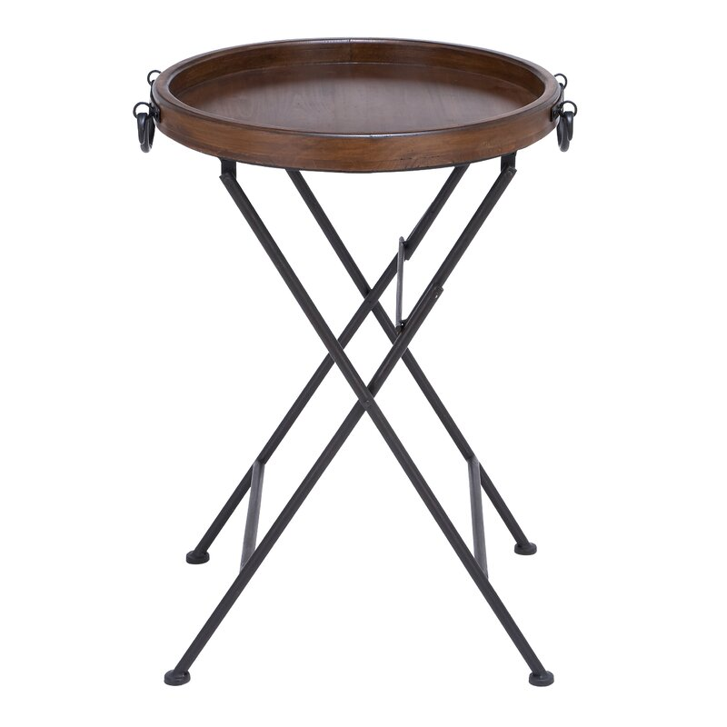 Metal And Wood Tray End Table