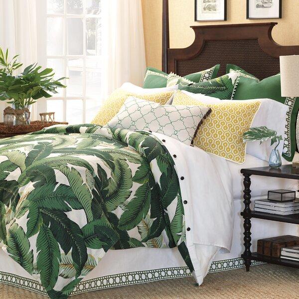 Palm Leaf,Queen Palm Queen Duvet Cover,100-percent Cotton Tropical Exotic Fern Trees Branches Paradise 3pc Set Bedding,Jungle Plants Botanical Print with Zipper Closure