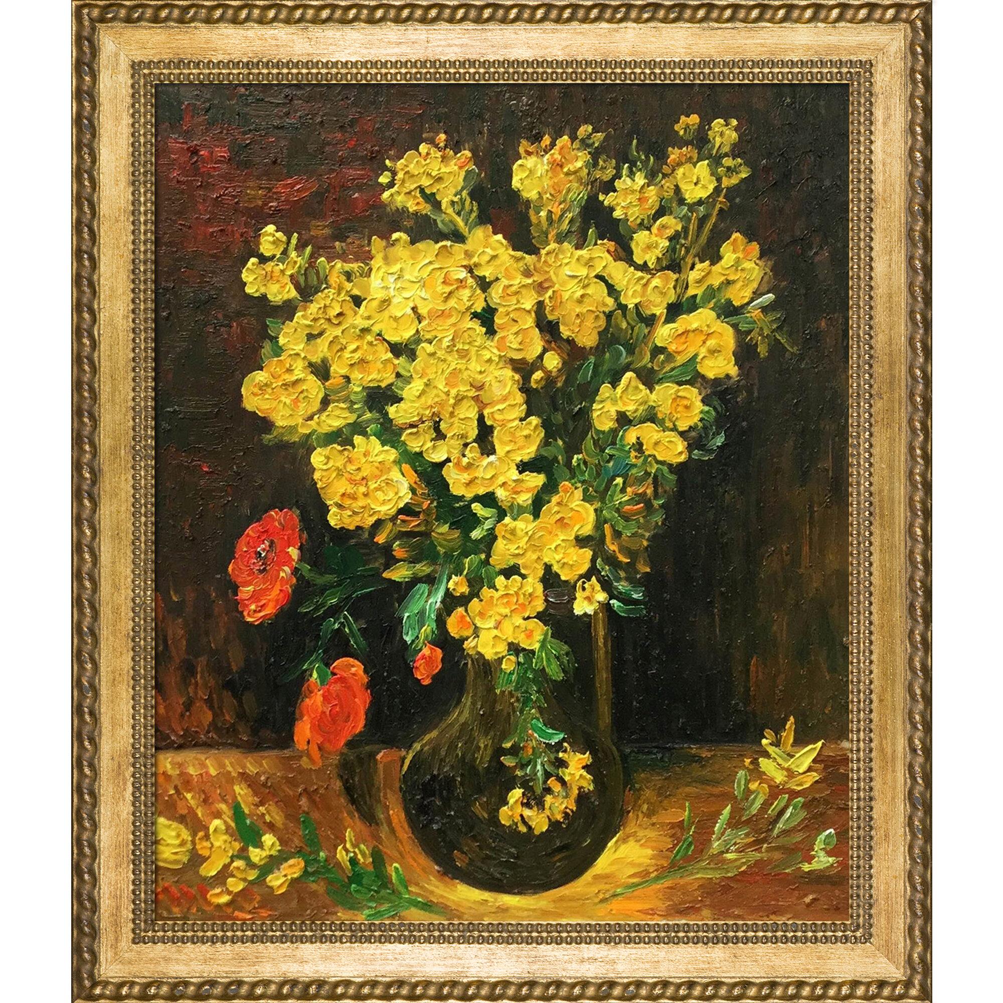 Tori Home \u0027Vase with Viscaria (Poppy Flowers)\u0027 by Vincent Van Gogh Framed Painting Print   Wayfair & Tori Home \u0027Vase with Viscaria (Poppy Flowers)\u0027 by Vincent Van Gogh ...