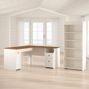 Oakridge L-Shaped Executive Desk with Bookcase