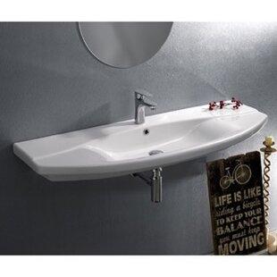 CeraStyle by Nameeks Focus Ceramic Rectangular Drop-In Bathroom Sink with Overflow