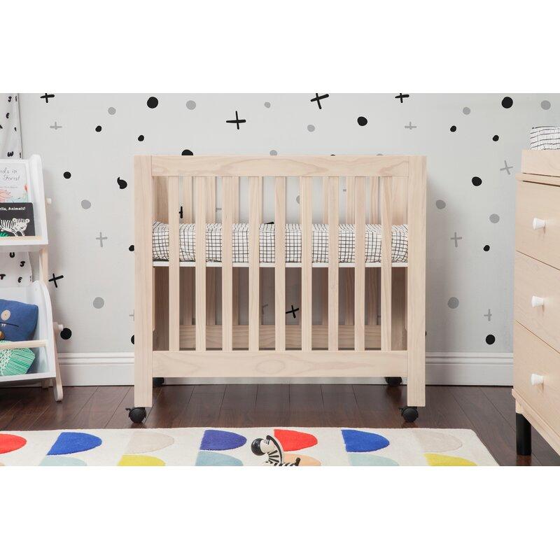 Amazon.com : Babyletto Origami Mini Portable Crib with Wheels in ... | 800x800