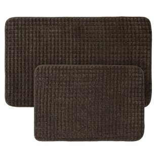 Jacquard Fleece Memory Foam 2 Piece Bath Rug Set
