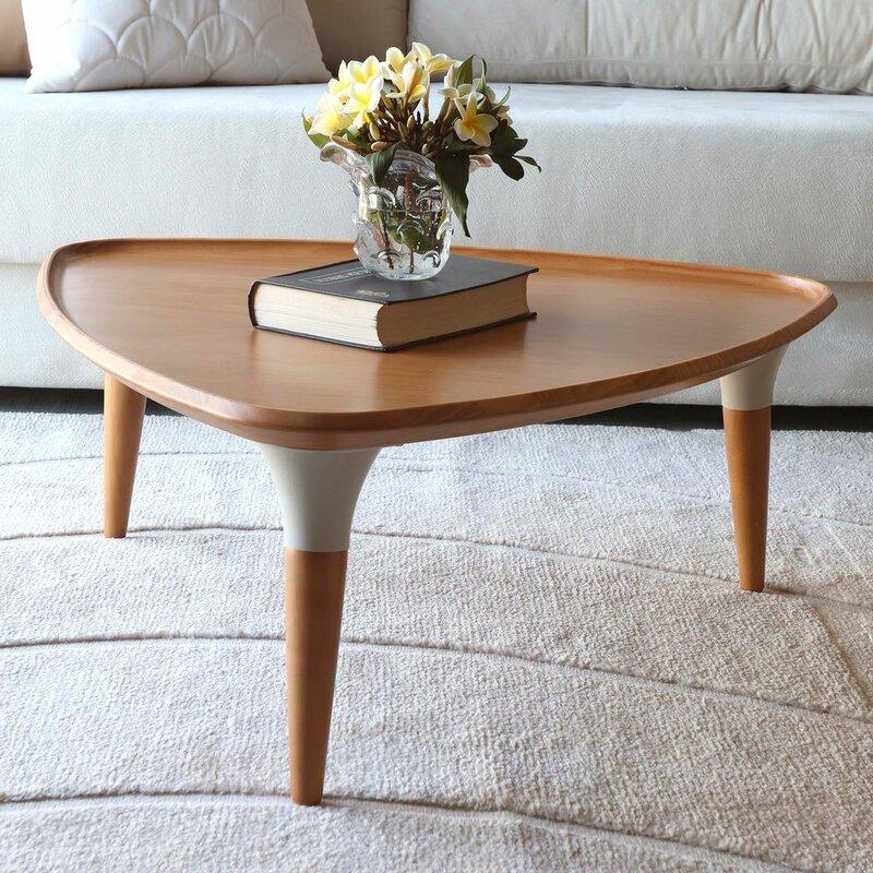 Corrigan Studio Beyers Solid Wood 3 Legs Coffee Table Reviews Wayfair