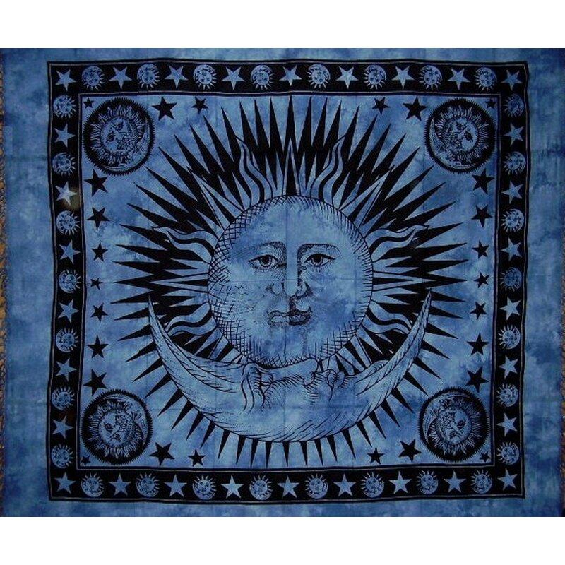 Indian Mandala Print Tapestry Cotton Bedspread 92 x 82 Full Blue
