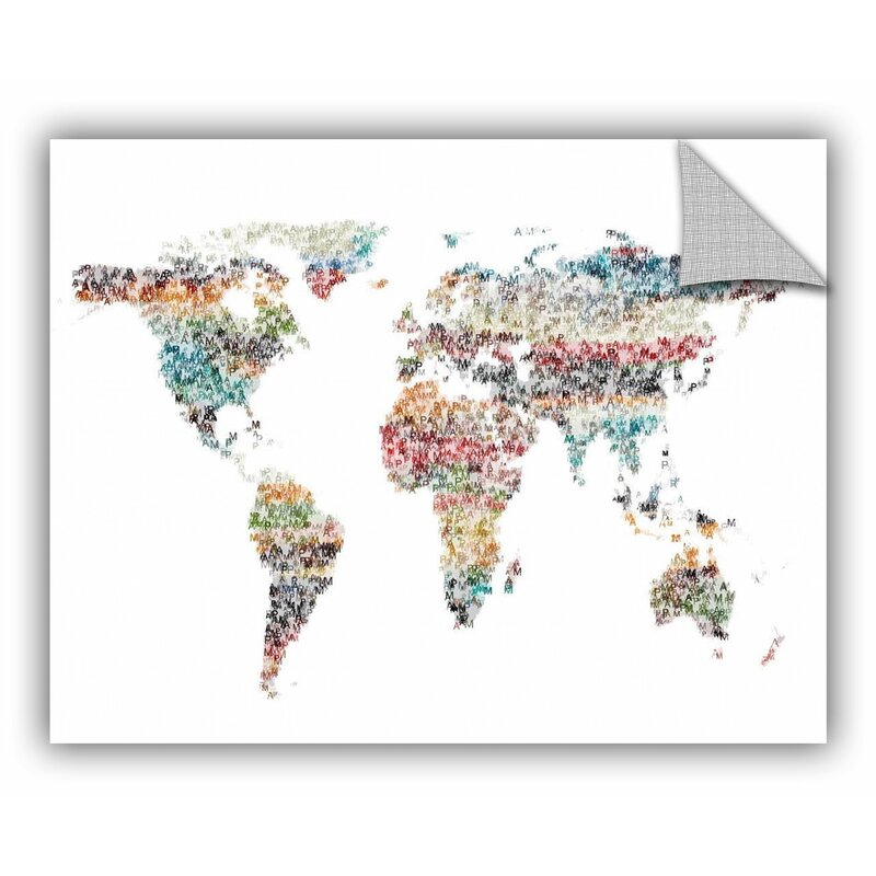 Ebern Designs Greear Text World Map 2 Removable Wall Decal Wayfair
