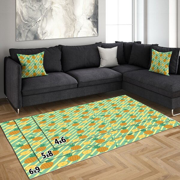East Urban Home Abstract Polyester Yellow Green Area Rug Wayfair