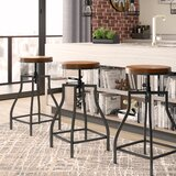Wisbech Adjustable Height Swivel Bar Stool (Set of 3) by Williston Forge