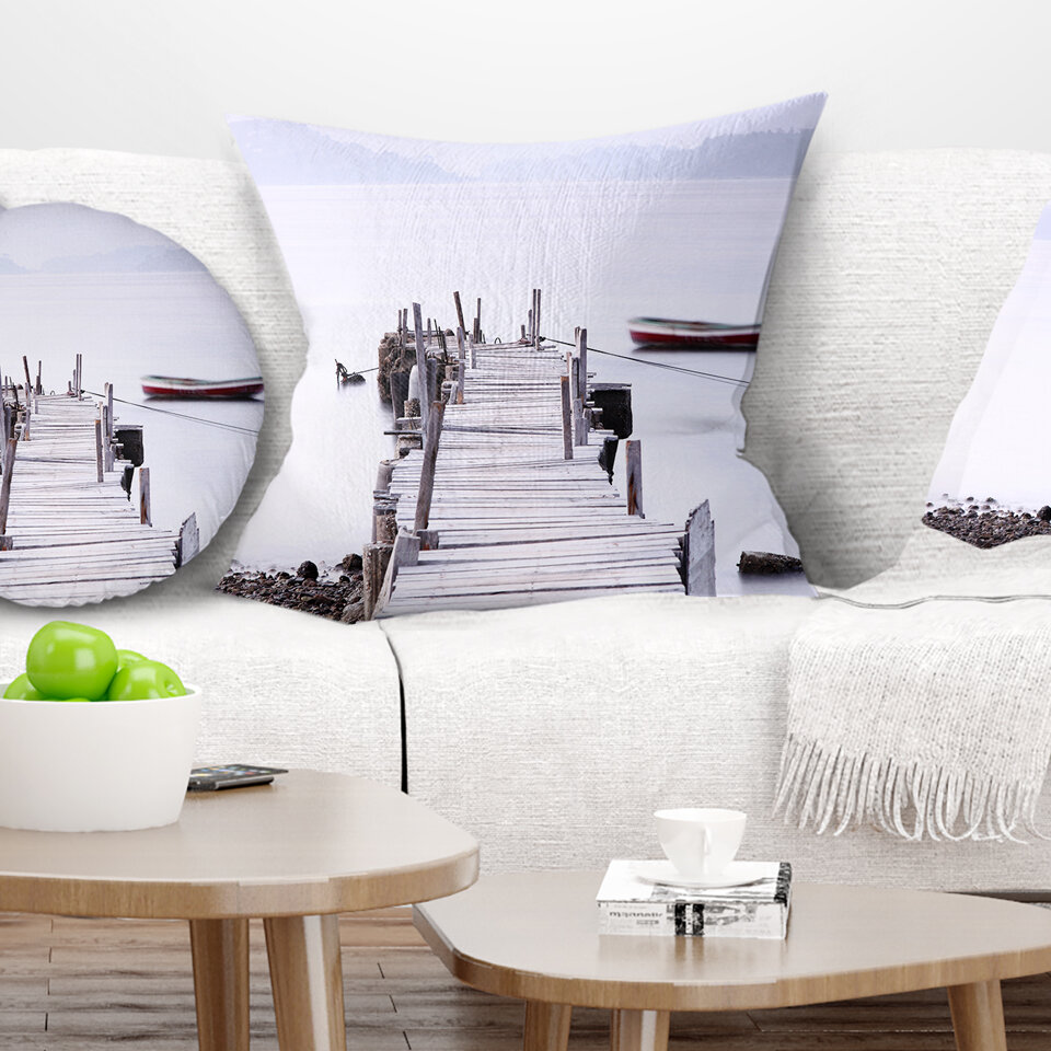 East Urban Home Seascape Foggy Sea With Pier And Boats Pillow Wayfair