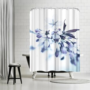 Mirja Paljakka Cherry Blossom Dusted Blue Single Shower Curtain