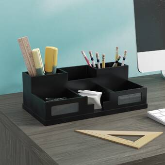 Desktop Stationery Organizer Storage With Drawer For Pen Pencil Mobile Phone Keys Reputation First Pen Holders 2019 New Style Leather Pencil Container Holder Desk Accessories & Organizer