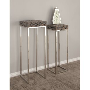 2 Piece Pedestal End Table
