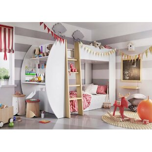 Gail European Single Bunk Bed With Bookcase By Harriet Bee