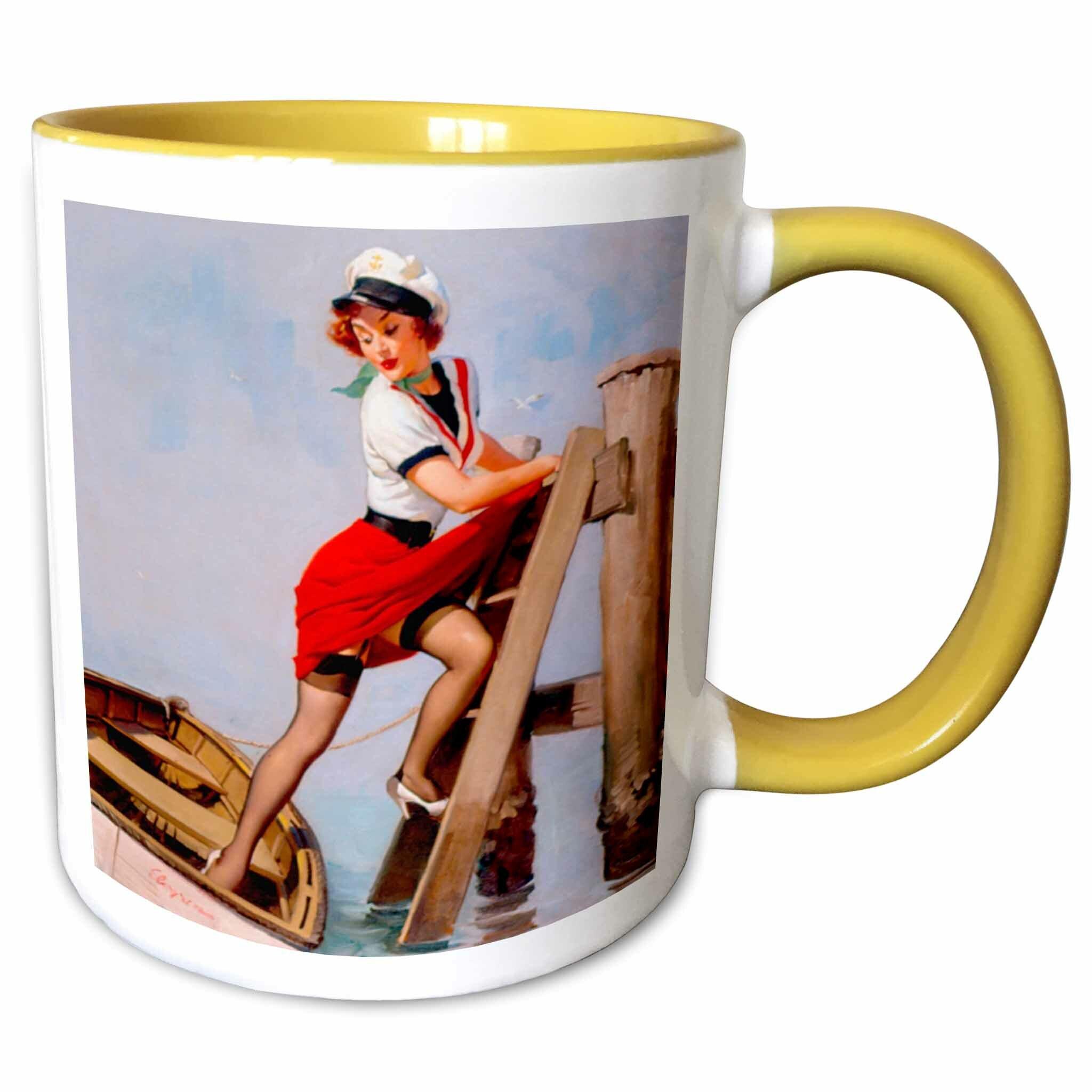 Symple Stuff Maddock Image Of Famous Elvgren Pinup Painting Sailor Beware Coffee Mug Wayfair