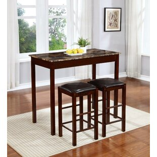 Rockford 3 Piece Faux Marble Counter Height Pub Table Set Winston Porter