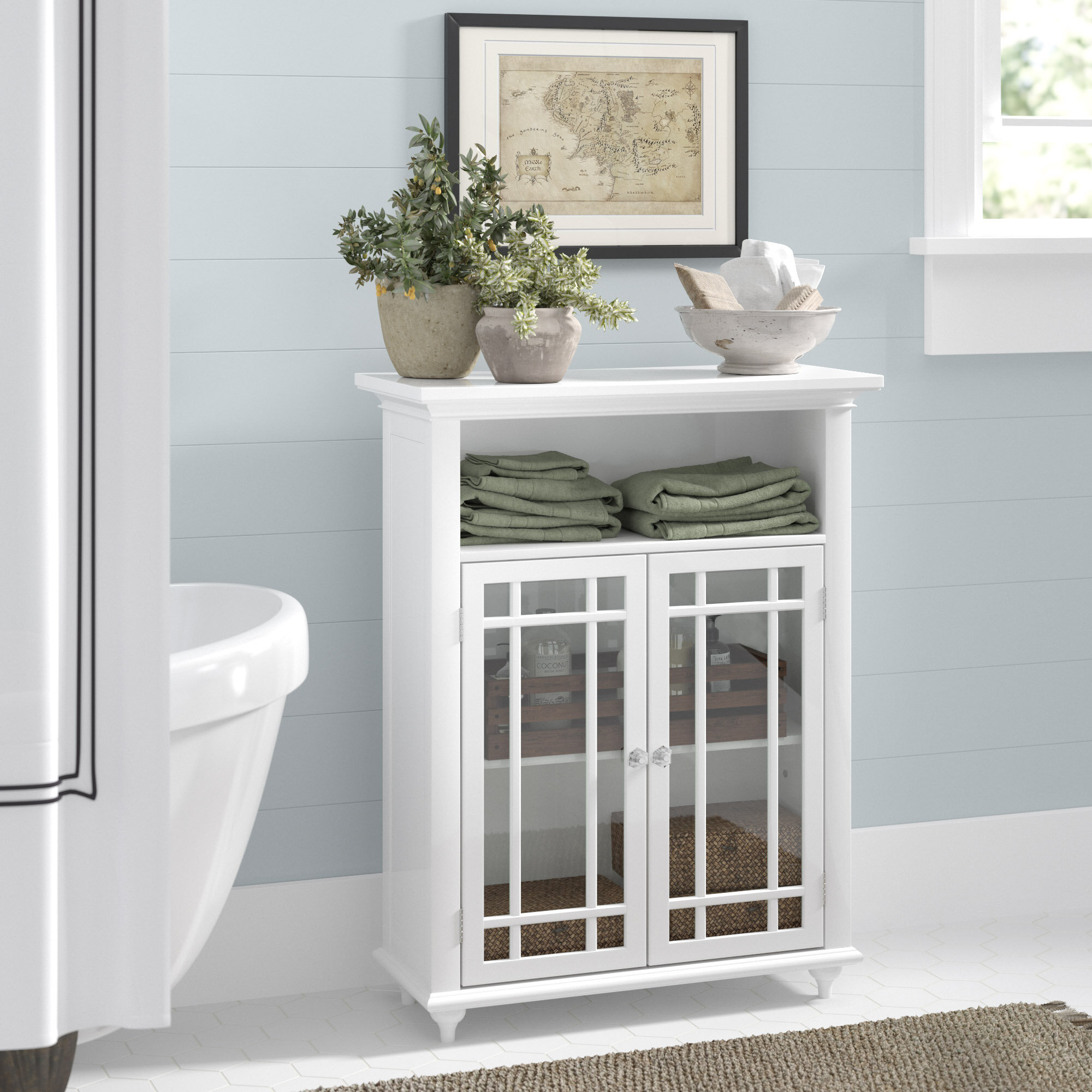 Carroll 26 5 W X 34 H X 12 5 D Free Standing Bathroom Cabinet Reviews Birch Lane