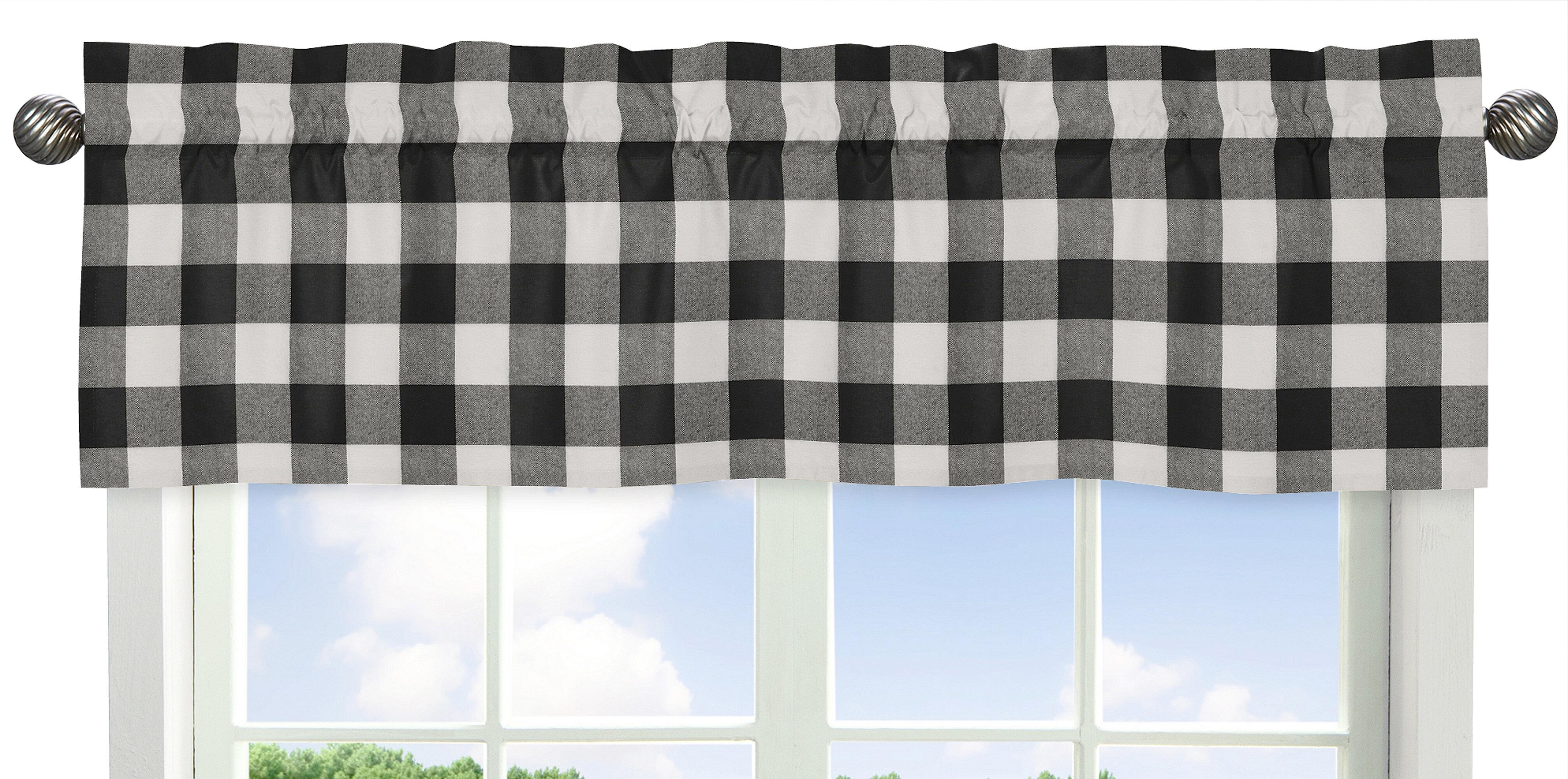 Sweet Jojo Designs Black And White Buffalo Check Collection Cotton Tailored 54 Window Valance Reviews Wayfair