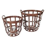 Alexander 2 Piece Bamboo and Metal Gathering Basket Set