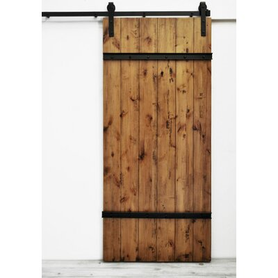 August Grove Flush Wood Finish Celeste Barn Door without Installation Hardware Kit Color: Aged Oak Stain