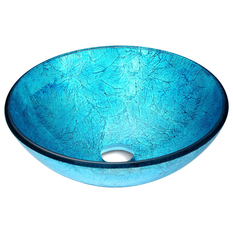 Anzzi Accent Blue Tempered Glass Circular Vessel Bathroom Sink Reviews Perigold