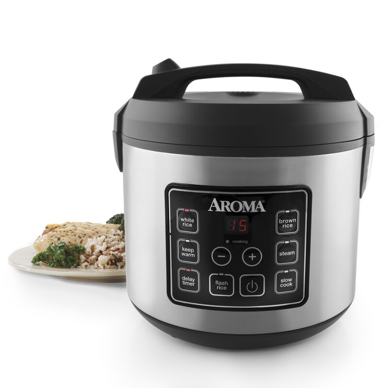 Aroma 20-Cup Stainless Steel Digital Slow Cooker, Food ...