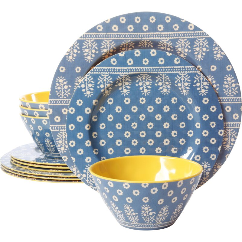 Alannah Melamine 12 Piece Dinnerware Set, Service for 4