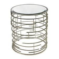 Juliana Contemporary Sculptural Metal Work Side Table with Glass Top by Wade Logan