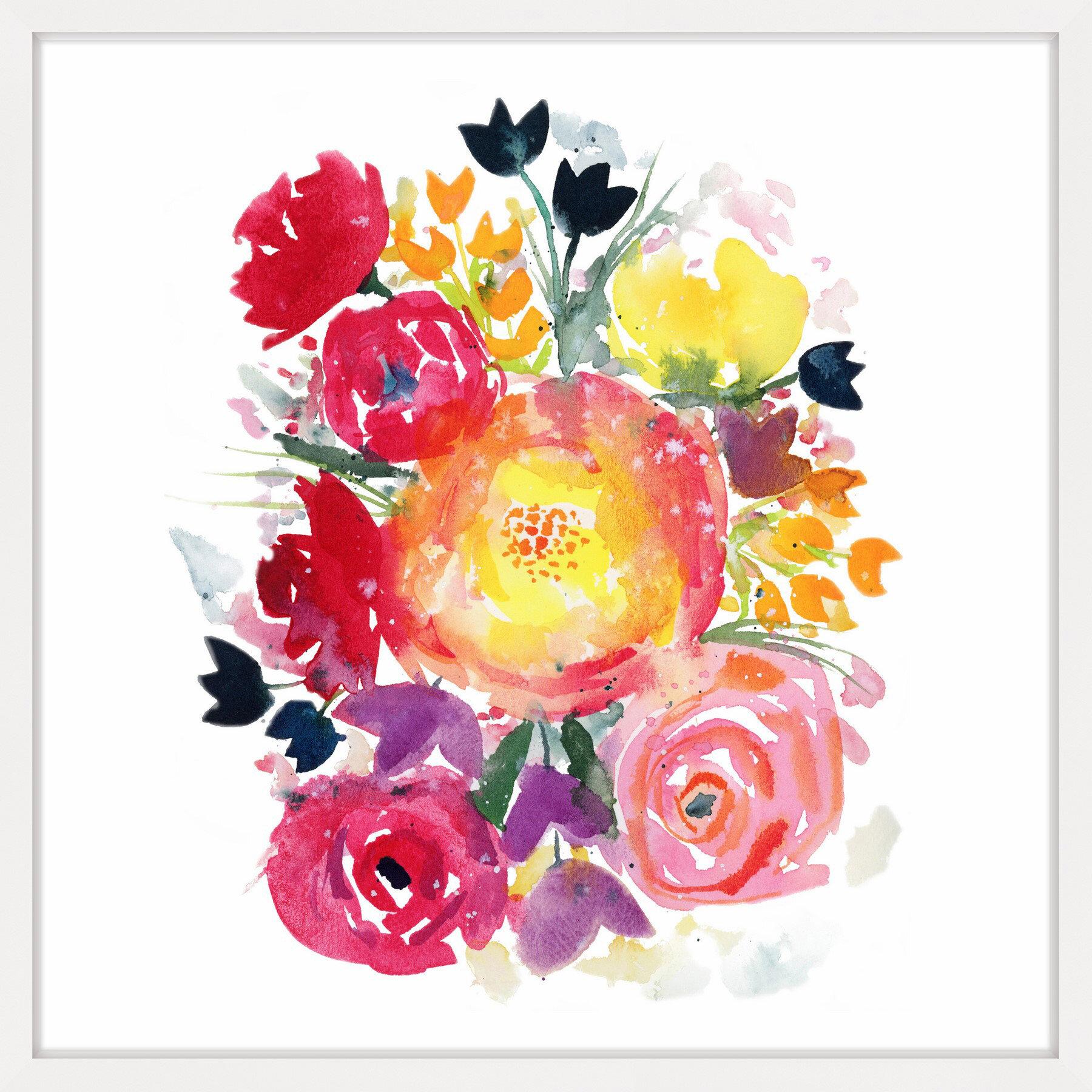 Latitude Run Wildflower Bouquet Iii Framed Watercolor Painting Print Wayfair