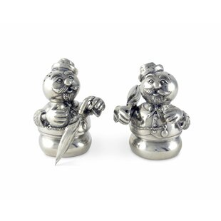 Pewter Christmas Snowmen Salt and Pepper Shaker Set