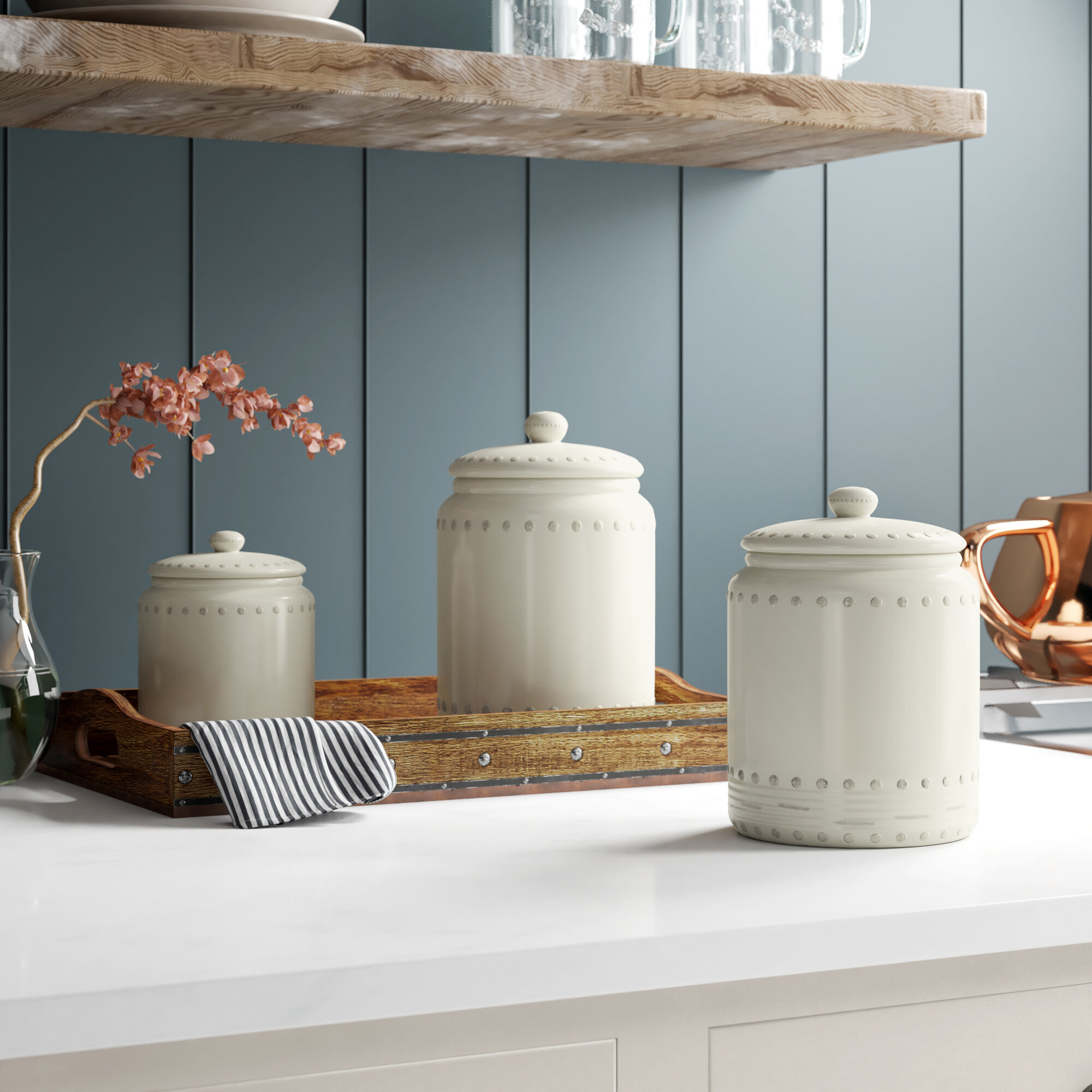 Ceramic 3 Piece Kitchen Canister Set with Air-Tight Lids