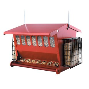 H-F Red Seeds N More Hopper Bird Feeder with Suet Holder