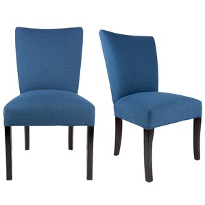 Great Knowlson Upholstered Parsons Chair In Denim Dark Blue (Set Of 2)